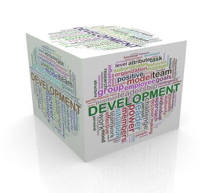 self development: 3d rendering of cube box of wordcloud word tags of development