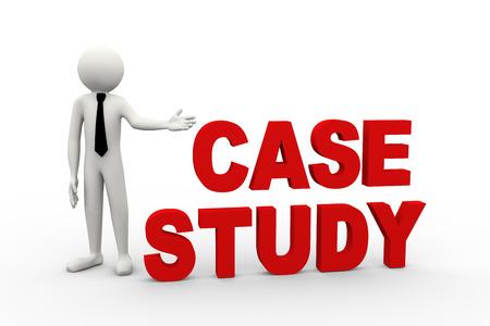 3d rendering of business person presentation of case study word. 3d white people man character