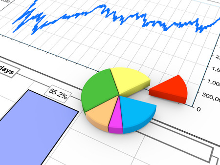 statistical: 3d rendering of progress bar and pie chart on financial analysis report