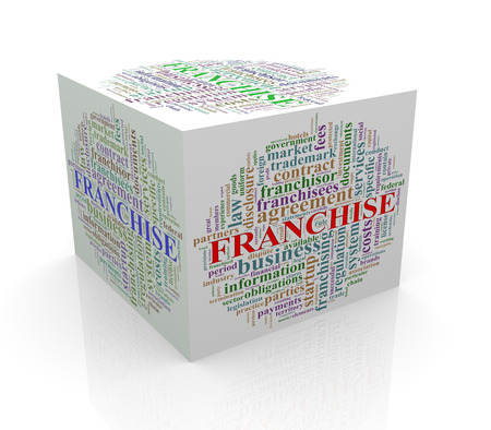 cube box: 3d rendering of cube box of wordcloud word tags of franchise Stock Photo