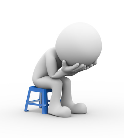 3d rendering of sad frustrated depressed man sitting on plastic stool. 3d white people man character
