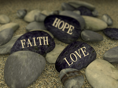 peace symbols: 3d rendering of pebble with word text love faith hope