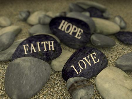 3D-Rendering von Kiesel mit Wort text Liebe Glaube Hoffnung Standard-Bild - 37562591