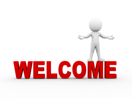3d rendering of man standing on word welcome with welcome gesture pose. 3d white person people man