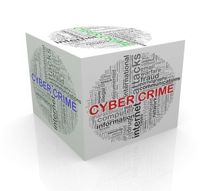 cube box: 3d rendering of cube box of wordcloud word tags of cyber crime