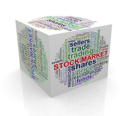 cube box: 3d rendering of cube box of wordcloud word tags of stock market
