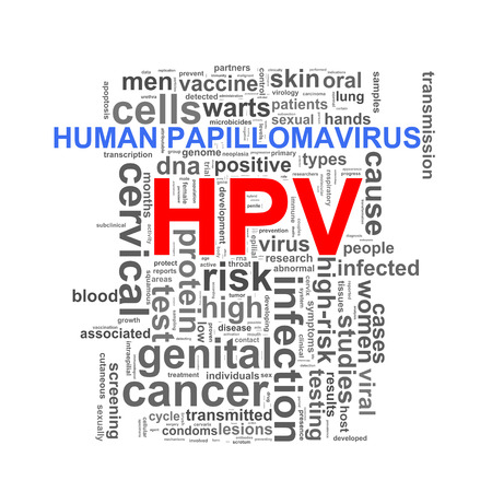 sexual health: Illustration of wordcloud word tags of hpv human papillomavirus