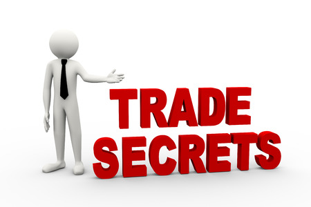 trade secret: 3d rendering of business person presentation of trade secret word. 3d white people man character