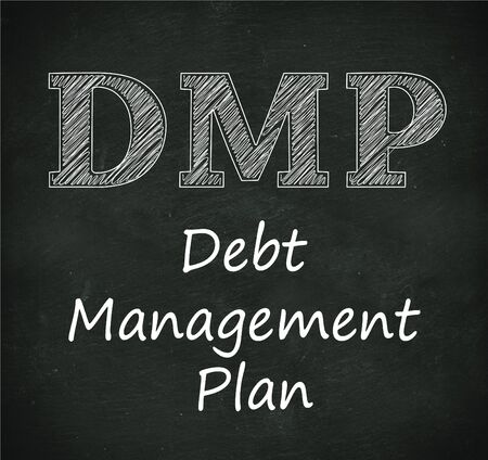 debt management: Illustration design of concept of dmp - debt management plan on black chalkboard Stock Photo