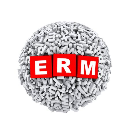 3d rendering of erm cubes boxes inside sphere ball made up of random alphabet character letter Stock Photo
