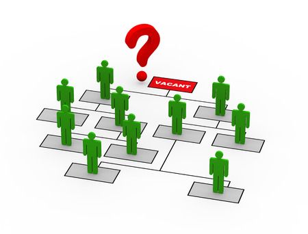 vacant: 3d rendering of question mark near ce o open vacant position in organizational chart Stock Photo