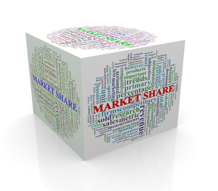 3d rendering of cube box of wordcloud word tags of market share photo