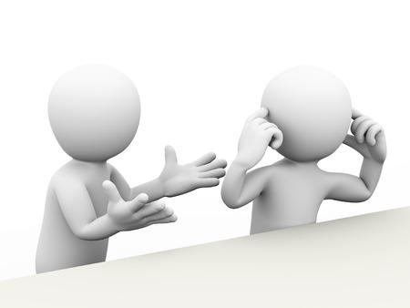 conflicto: Representación 3D de hombre gritos y los otros dedos persona poniendo en sus oídos. Concepto de conflicto y disputa entre la pareja. 3d blanco, persona, gente hombre