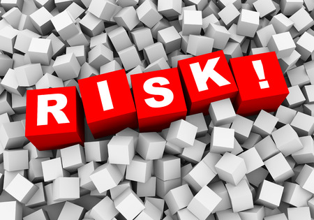 investing risk: 3d rendering of word text risk! and abstract cubes boxes background Stock Photo