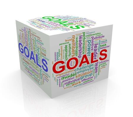 cube box: 3d rendering of cube box of wordcloud word tags of goals Stock Photo