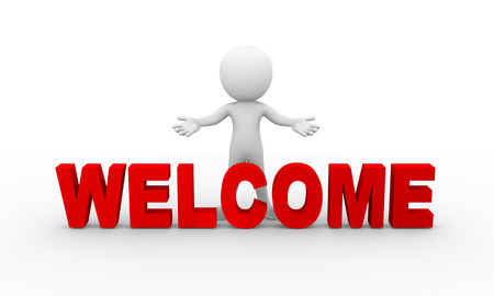 3d rendering of man with open arm gesture pose standing with word welcome . 3d white person people man