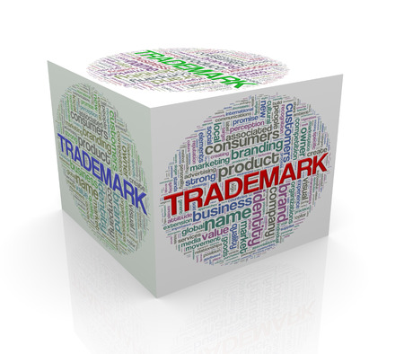 branded product: 3d rendering of cube box of word tags wordcloud  of trademark