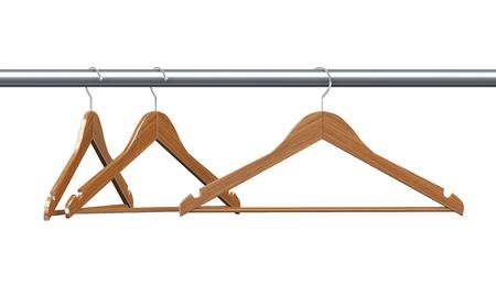 clotheshanger: 3d rendering of three wooden coat hangers.