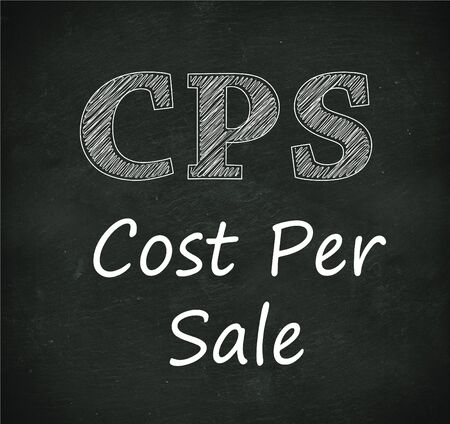 cpl: Illustration design of concept of cps - cost per sale on black chalkboard Stock Photo