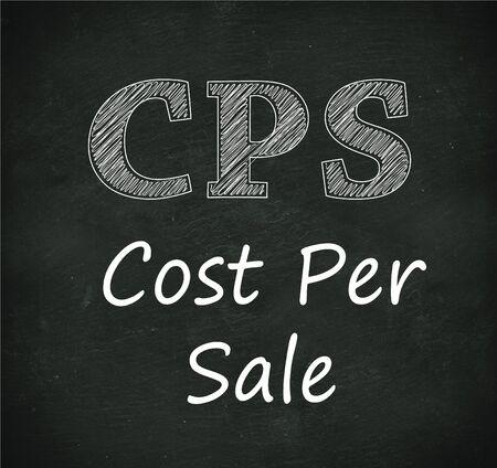 per: Illustration design of concept of cps - cost per sale on black chalkboard Stock Photo