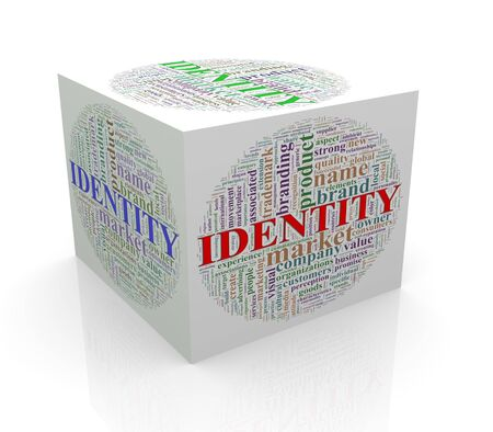 branded product: 3d rendering of cube box of word tags wordcloud  of identity
