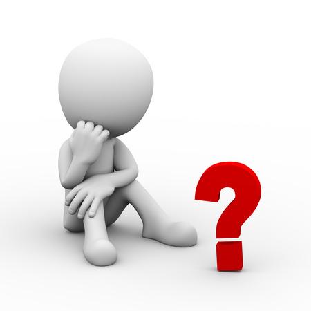 Representación 3d del hombre de pensamiento que se sienta en piso y que mira la muestra del signo de interrogación. 3d blanco persona gente hombre