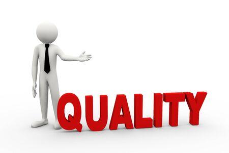 ビジネス人プレゼンテーション品質の単語の 3 d レンダリングします。3 d の白人男性キャラクター