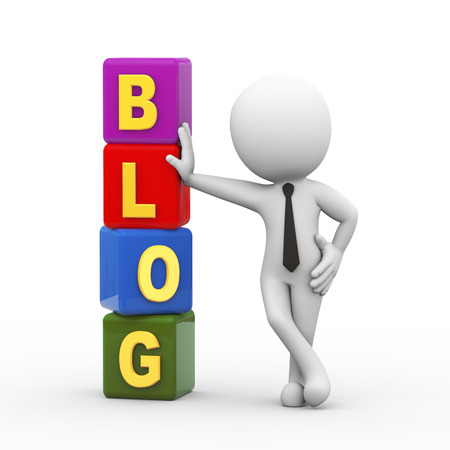 weblog: 3d rendering of businessman standing with blog cubes. 3d white person people man