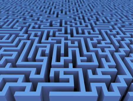 labyrinth: 3d rendering of endless challenge labyrinth maze