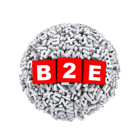 b2e: 3d rendering of b2e cubes boxes inside sphere ball made up of random alphabet character letter