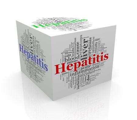 jaundice: 3d rendering of cube box of wordcloud word tags of hepatitis