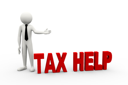 tax return: 3d rendering of business person presentation of tax help word. 3d white people man character