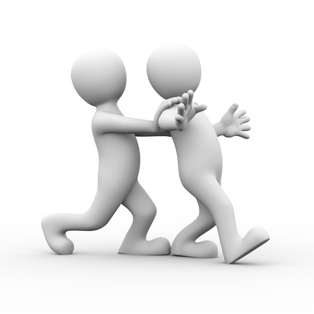 hands behind back: 3d rendering of man pushing his friends for encouragement.  Concept of friendship, help, support, love. 3d white person people man Stock Photo