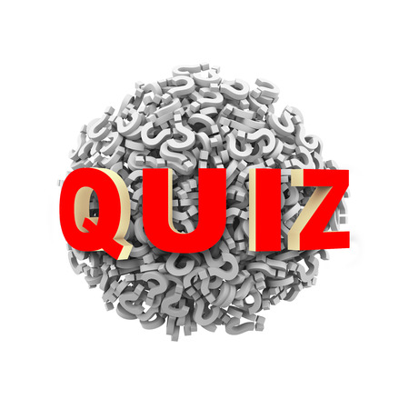 inquire: 3d rendering of word quiz on sphere ball made up of question mark symbol sign