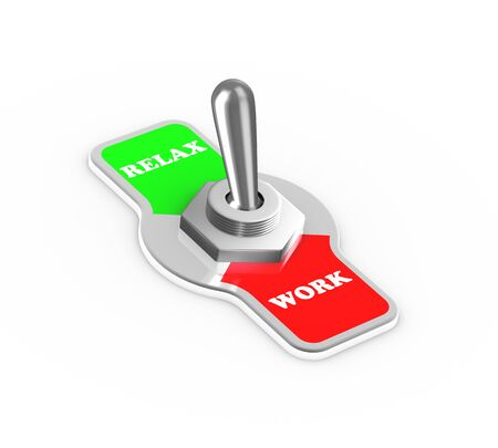 off balance: 3d rendering of work relax toggle switch button flipped in the relax position. Stock Photo