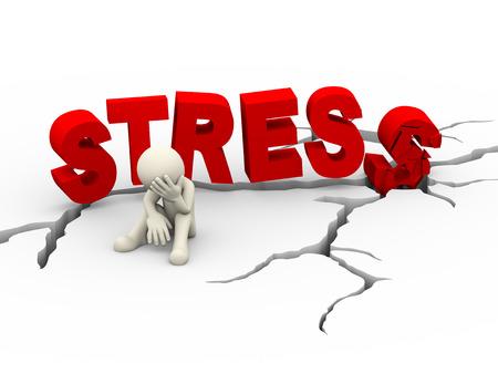 3D-afbeelding van overstuur trieste man zit in de buurt gebarsten vernietigd woord stress over gebarsten gebrek grond. 3d blanke mensen man