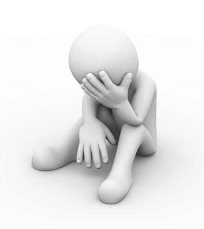persona triste: Representaci�n 3D de frustrado molesto hombre deprimido triste que se sienta. Hombre del car�cter 3d gente blanca Foto de archivo