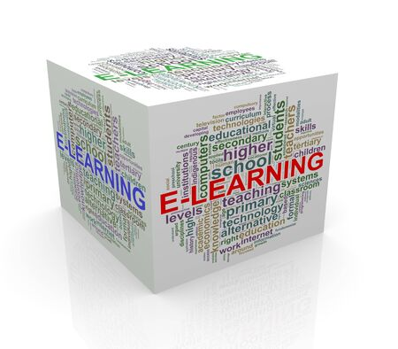 cube box: 3d rendering of cube box of wordcloud word tags of elearning Stock Photo