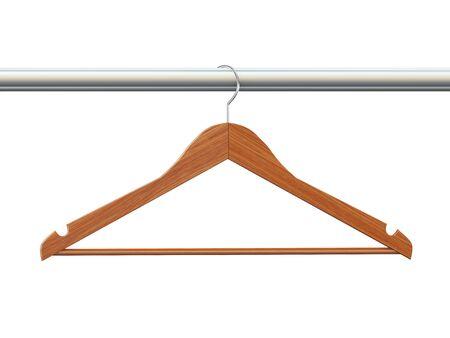 coat hanger: 3d rendering of wooden coat cloth hanger