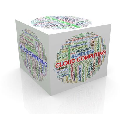 cube box: 3d rendering of cube box of wordcloud word tags of cloud computing Stock Photo