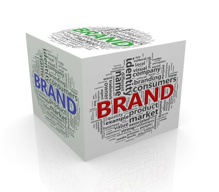 branded product: 3d rendering of cube box of word tags wordcloud  of brand