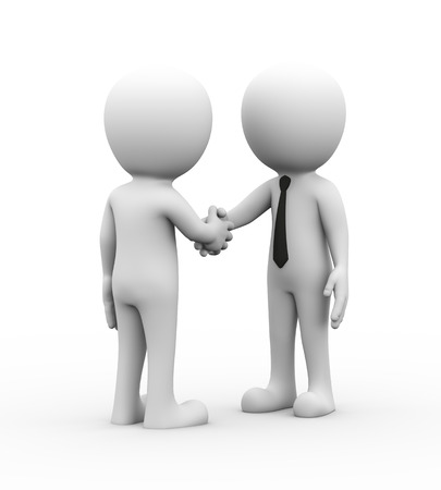 3d rendering of businessman shaking hand with his partner.  Concept of friendship, contract agreement, elp, support. 3d white person people man
