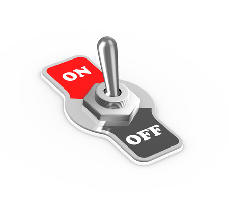 on off button: 3d rendering of on and off toggle switch button flipped in the on position