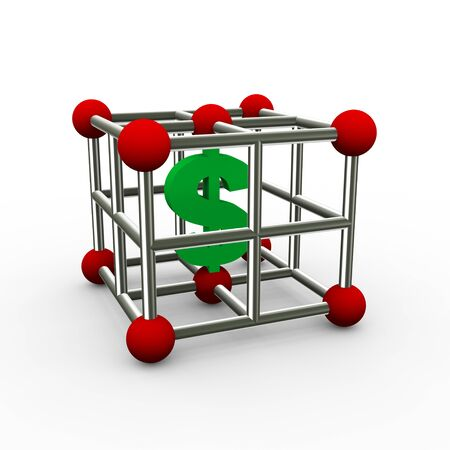 3d rendering of currency dollar symbol in abstract molecule design cube