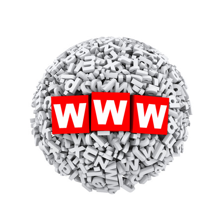 webhost: 3d rendering of www cubes boxes inside sphere ball made up of random alphabet character letter Stock Photo