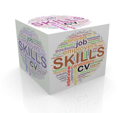 cube box: 3d rendering of cube box of wordcloud word tags of skills