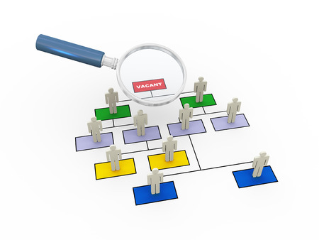zooming: 3d rendering of magnifying glass zooming over ceo vacant position in organizational chart