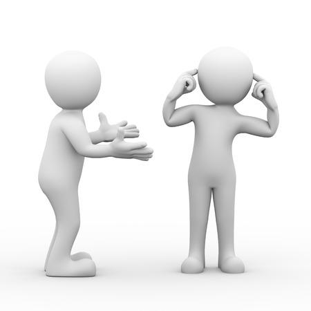 사람의 3d 렌더링 그의 귀에 손가락으로 다른 사람이 포즈 동안 얘기를 듣고 있지. 갈등과 부부 사이의 분쟁의 개념입니다. 3D 흰색 사람 사람들 남자