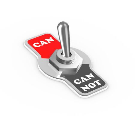 toggle switch: 3d rendering of can and can not toggle switch button flipped in the can position Stock Photo