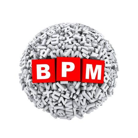 bpm: 3d rendering of bpm cubes boxes inside sphere ball made up of random alphabet character letter Stock Photo